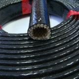 Gainer tressé de fibre de verre enduit du caoutchouc de silicones particulièrement composé