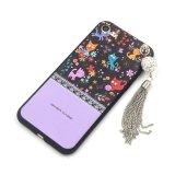 Caja floral del teléfono móvil del modelo de flor TPU con la borla para el iPhone 7