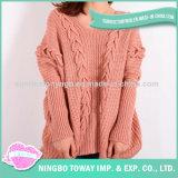 Camisola Hand Knitted personalizada de lãs do algodão da forma da menina