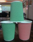Бумага в рубчик кофейные чашки/специализированные печатные одноразовый PE колебания стены 12oz изолированный кофе чашки бумаги с крышкой