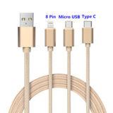 3 en 1 cable de datos para el tipo androide cable del iPhone del USB de C