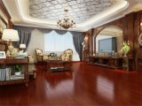 Plancher multicouche rouge en bois solide pour la salle de séjour