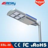 Aprovaçã0 clara solar de RoHS do Ce do fabricante da lâmpada de rua do diodo emissor de luz da aprovaçã0 IP65 de RoHS do Ce