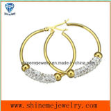 Eardrop van het Roestvrij staal van de Juwelen van de manier Goud Geplateerde Oorring (ERS7002)