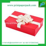 Rectángulo de regalo elegante de la cartulina rígida de la cinta