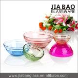 bacia 5PCS de vidro quadrada ajustada com as tampas diferentes da cor (GB1409)