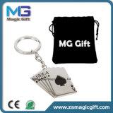Porte-clés de poker en métal personnalisé promotionnel avec emballage en sac en velours