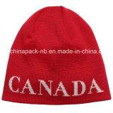 Gorrita tejida de acrílico del hockey de la toca del Knit del telar jacquar del modelo de Canadá (CPHC-7013X)