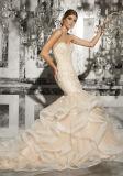 Сборок Organza шнурка Beaded Bridal платья 2017 венчания Ctm002