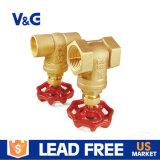 "1/2 ""Ferro Red Handwheel 125psi Pressão de trabalho Material sem chumbo Multi Turn Forging Brass Gate Valves"
