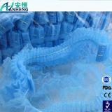 Устранимые Bouffant плиссированные крышки, 24 дюйма, голубые для косметик, красотки, кухни, варящ, домашние индустрии, стационар