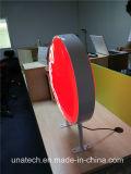 Раунда циркуляр алюминиевая рама с металлическими ногами реклама светодиодный дисплей подписать вакуумный пластмассовый блок освещения