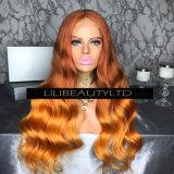 Pelucas brasileñas del pelo de la peluca de la onda de la carrocería de la manera de la rayita rubia de Preplucked para el afroamericano