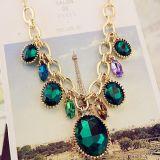 La joyería de moda de primavera de 2013 Nuevo Collar chapado en oro de las cadenas ajustable con perlas de vidrio en forma de corazón colgante Ecológico (PN-046)