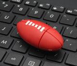 Vara personalizada movimentação do USB do futebol americano do PVC do flash do USB do rugby