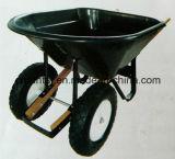 Il doppio spinge la carriola pneumatica del nero della rotella con la maniglia di legno