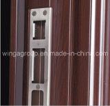 Appartement Heatransfer couleur du bois de la sécurité extérieure de porte métallique en acier (W-S-136)