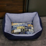 長方形の子犬の柔らかいファブリック贅沢な防水飼い犬のベッド