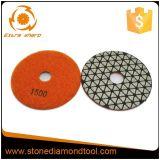 Garnitures de polonais sèches de résine de Velcro de diamant de pierre à chaux de 4 pouces