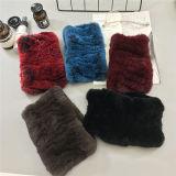 Les femmes tricoté Écharpe de fourrure de lapin Rex réel chef d'enrubannage