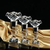 Trofeo cristalino del cristal de la alta calidad del trofeo de la mano