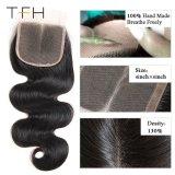 9 de alta qualidade um brasileiro um cabelo liso Lace Encerramento, Livre/médio/Três Parte Remy de cabelo humano 4x4 polegadas Swiss Lace Top Encerramento (TFH18)