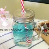 300ml frasco de vidrio transparente con tapa de acero inoxidable