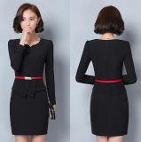 Kundenspezifisches einteilige lange Hülsen-beiläufiges Büro-Dame-Kleid der Frauen