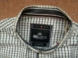 Men's 100%Cotton Woven status Collar with Long Sleeve mini Plaid shirt