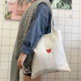 Sacchetto di Tote di acquisto della tela di canapa con cuore rosso per la ragazza