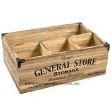 Vintage Caja de almacenamiento de la caja de madera cubiertos de botella de leche titular