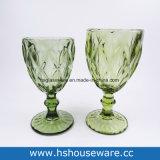 다이아몬드에 의하여 형성되는 착색된 유리제 Stemware 의 유리제 포도주 컵, 유리제 받침 달린 컵
