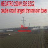 Torre doble de la transmisión de la tangente del circuito de Megatro 220kv 2D3 Szc2