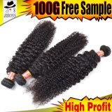 100%の加工されていないブラジルの毛の織り方の部分