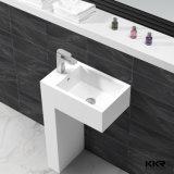 Белый цвет искусственного камня отдельностоящие раковину пьедестал в ванной комнате Раковина