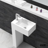 Lavabo di pietra artificiale bianco della stanza da bagno del basamento, dispersore indipendente
