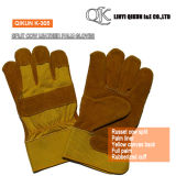 K-301 Grey Split Cow Full Palm Liner Rubberized Cuff Canvas Back Leather Working Safety Gloves