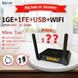 O WiFi+1ge+3fe Gpon ONU Zc-500W para a ZTE F660W Huawei Hg8245h Hg8346m