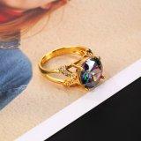 Nuevo anillo de dedo multicolor plateado de la CZ de la joyería de la boda del diseño oro