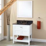 Fed-353 vaidade brancas modernas do banheiro do hotel dos armários de banheiro da madeira contínua de qualidade superior de 30 polegadas