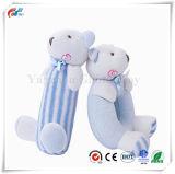 赤ん坊の柔らかいラッセル音のプラシ天のおもちゃ2のカウントの青いくま5.6in4in