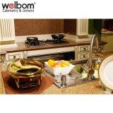 Welbom Uの形の白いペンキのカシ木食器棚