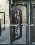 Double entrée en fer forgé de sécurité en acier portes avec feux de position