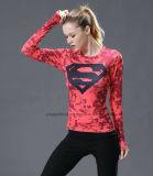 卸売は女性ヨガのTシャツに着せる適性の圧縮の上を遊ばす