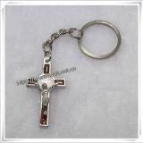 Catena chiave trasversale della catena chiave di OEM/ODM con la croce cattolica (IO-CK064)
