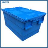 60L Precio inferior en movimiento plástico Tote Caja con tapa adjunta