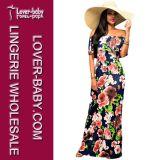 떨어져 어깨 Long Dress (L51326) 섹시한 꽃 숙녀