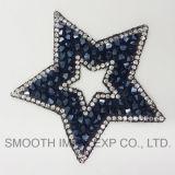 Ferro Cinco-Pointed do Rhinestone do bordado da estrela da forma no grânulo da correção de programa