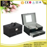 Leather Cufflink Necklace Bangle Chain Box with Mirror (8319)