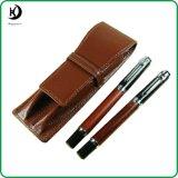 Bois de Rose stylo plume en cuir Rollerball Pen cas Set (JD-SL064)